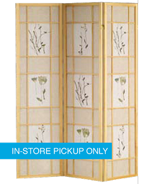 Flower Wood Frame Natural 3-Panel Screen